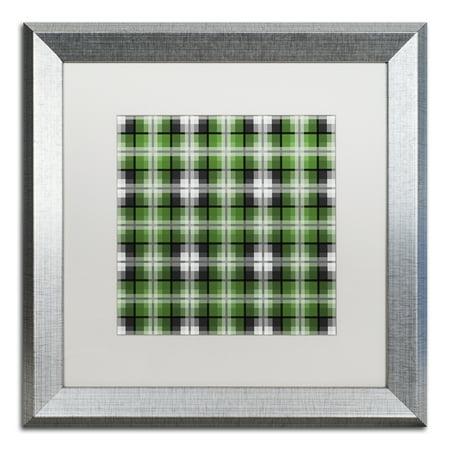 Trademark Fine Art 'Green Gray Check 2' Silver Framed Art by Jennifer Nilsson (Derek Silver)