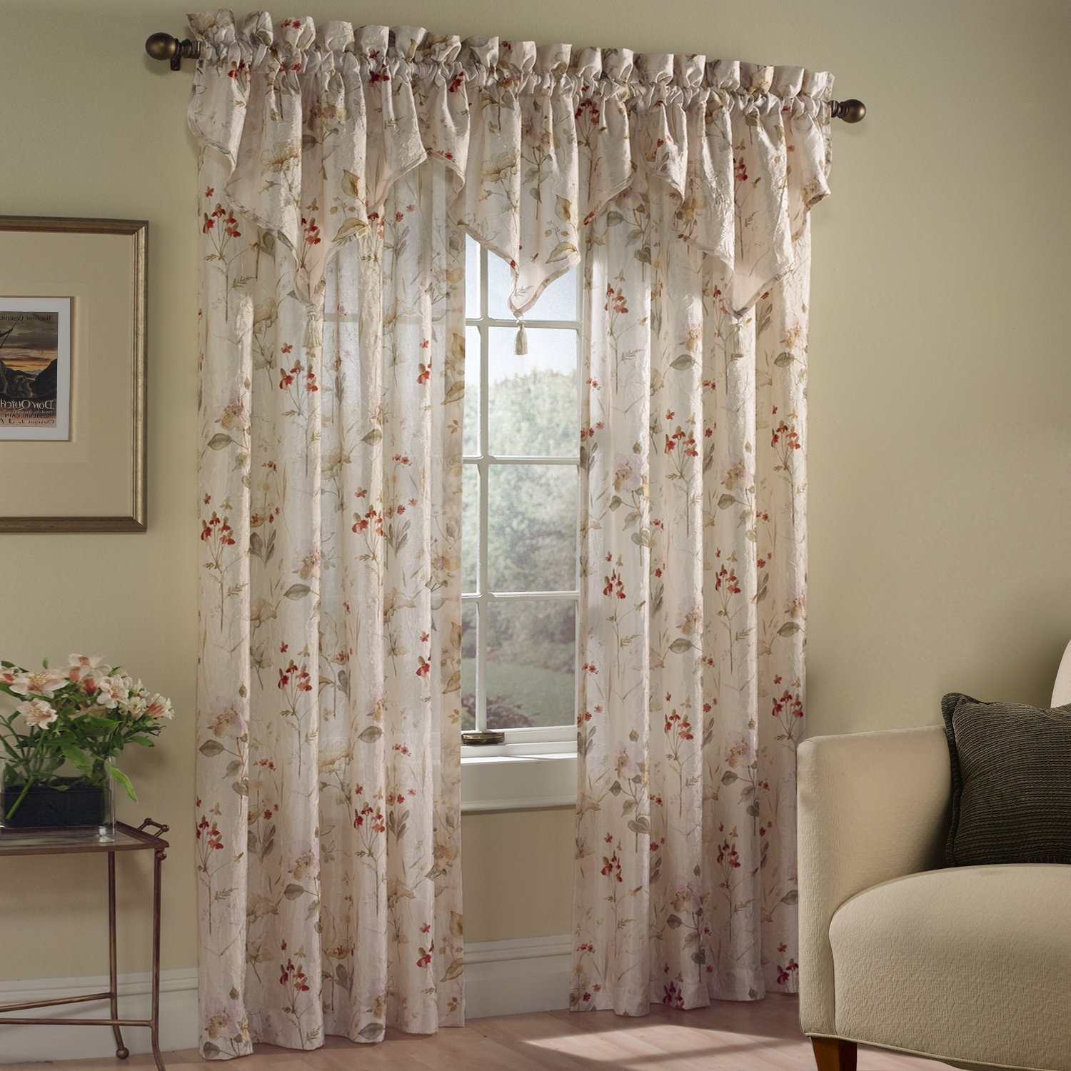 American Curtain and Home Tina Window Treatment Valance, 48-Inch by 16-Inch, Multicolor by