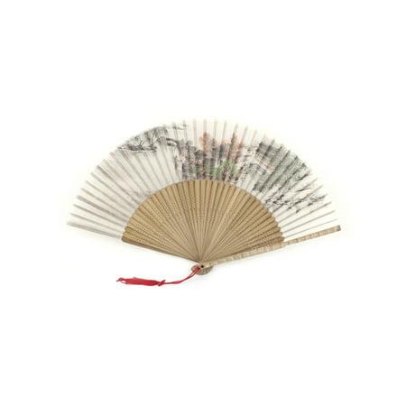 Unique Bargains Vintage Style Pavilion Tree Print Bamboo Carved Frame Folding Hand Fan (Vintage Fan)