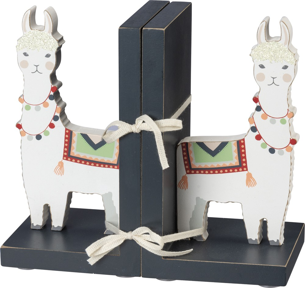 PRIMITIVES BY KATHY Llama Wooden Book Ends in White