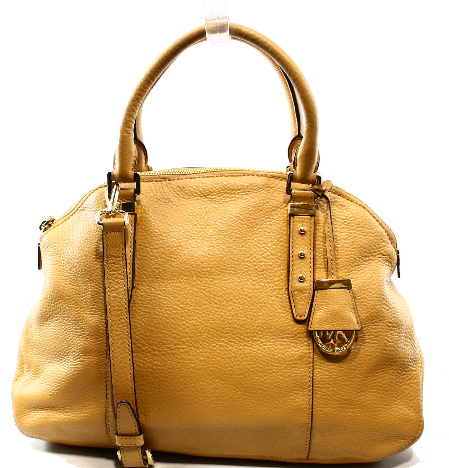 Michael Kors NEW Beige Peanut Pebble Leather Bowery Satch...