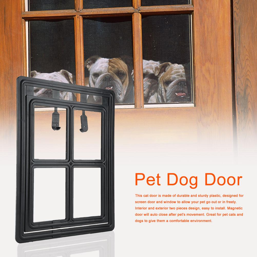 Yosoo Plastic Pet Dog Puppy Cat Door Magnetic Locking Safe Flap for Screen Window Gate, Cat Door, Cat Door for Screen Window