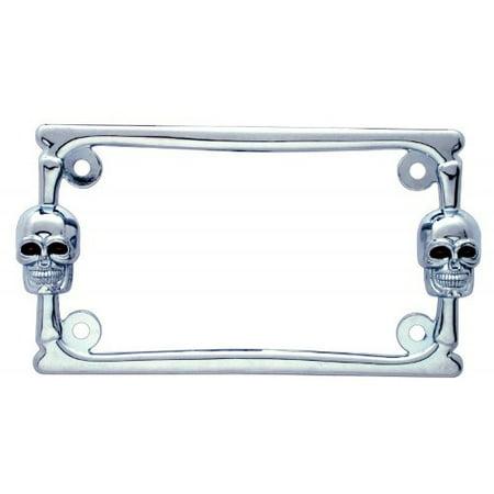 Chrome Metal Skull Motorcycle Bike License Plate Tag Frame Holder / Harley Honda