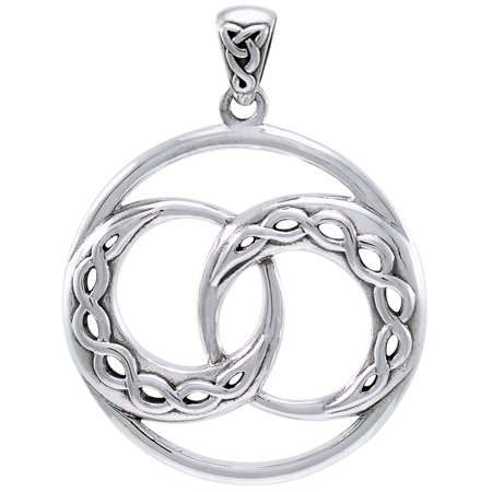 Sterling Silver Double Celtic Infinity Knot Crescent Moon (Celtic Triangle Pendant)