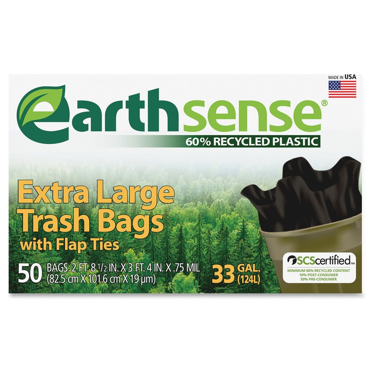 "Webster Earth Sense 33-gal Extra Large Trash Bags - 33 Gal - 32.50"" Width X 40"" Length X 0.90 Mil [23 Micron] Thickness - Low Density - Black - 300/carton - Can (ges6ftl50ct)"