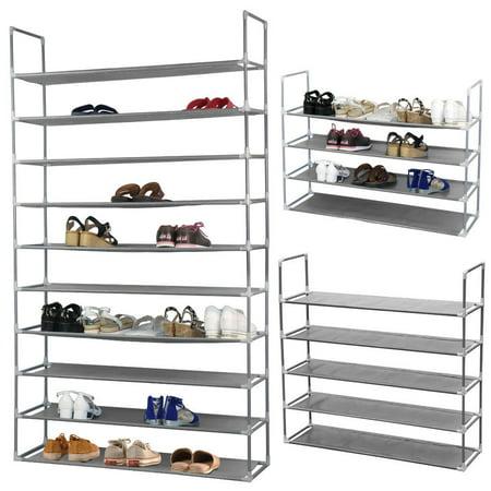- Zimtown 50 Pairs Shoe Rack Shelf Holder Unit Stand Organizer Portable 10 Tier Grey