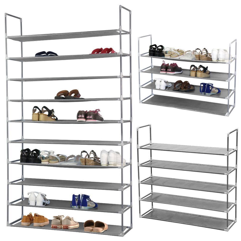 Zimtown 50 Pairs Shoe Rack Shelf Holder Unit Stand Organizer Portable 10 Tier Grey