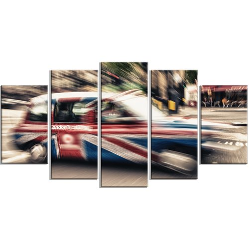 Design Art 'UK Cab in London' 5 Piece Wall Art on Wrapped Canvas Set
