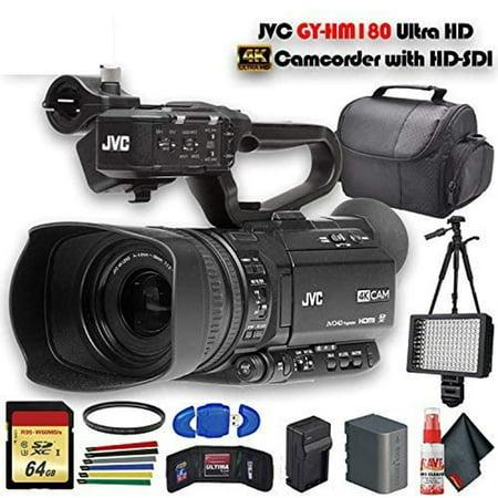 JVC GY:HM180 Ultra HD 4K Camcorder with HD:SDI GY:HM180U  Extra Battery, UV Filter, Tripod, Padded Case, LED Light, 64GB MC & More Starter Bundle