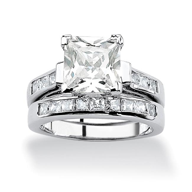 PalmBeach Jewelry 517346 3.95 TCW Princess-Cut Cubic Zirconia Platinum Over Sterling Silver Bridal Engagement Set Size 6 by PalmBeach Jewelry