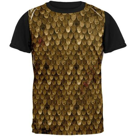 Halloween Battle Damage Bronze Scale Armor Costume All Over Mens Black Back T Shirt (Halloween Town Battle Theme)