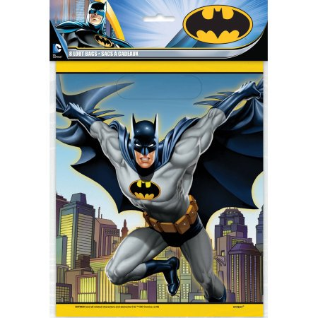 (3 Pack) Plastic Batman Goodie Bags, 9 x 7 in, 8ct - Shark Birthday Supplies