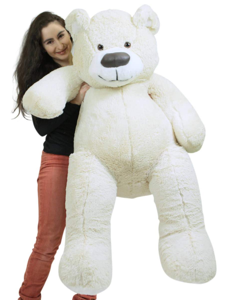 American Made Giant White Teddy Bear Soft 55 Inches Almost 5 Feet Tall by BigPlush