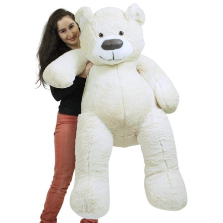 American Made Giant White Teddy Bear Soft 55 Inches Almost 5 Feet - White Teddy Bear