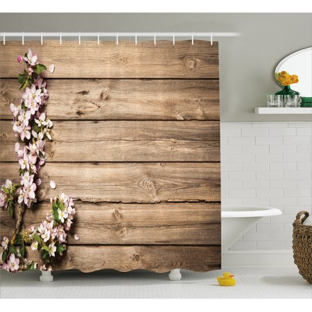 Rustic Shower Curtain, Sweet Spring Flowering Tree Branch on Weathered Wooden Blooming Orchard Image, Fabric Bathroom Set with Hooks, Pink Brown Green, by - Rustic Showers