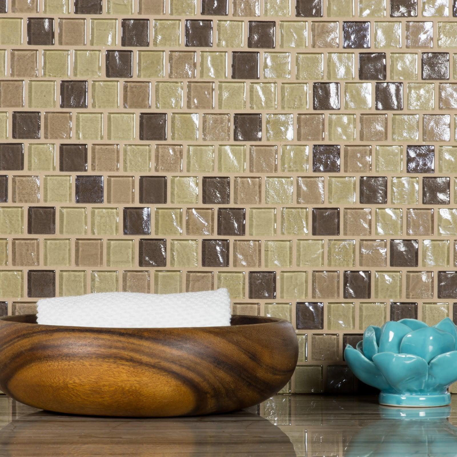 "Abolos- Geo 1"" x 1"" Glass Mosaic Backsplash Tile in Light Brown (4.9sqft / 5pc Box)"
