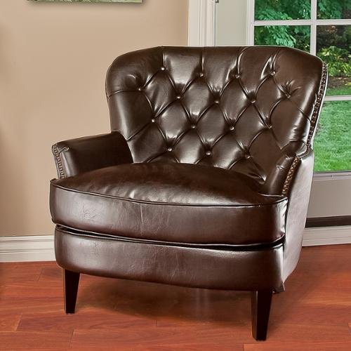 Eaton Tufted Brown Leather Club Chair