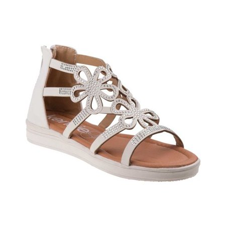 Detail Sandals (Kensie Girls White Floral Shape Detail Glitter Stud Back Zip Sandals)