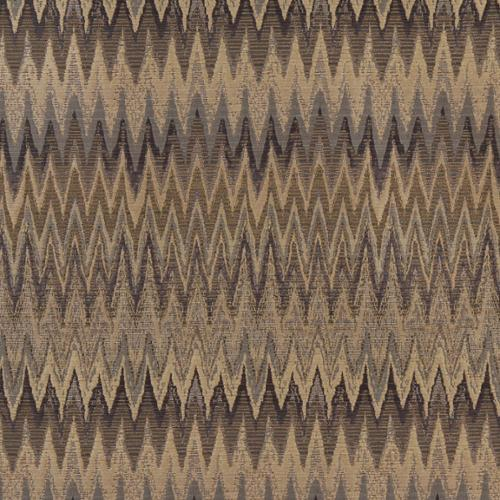 C481 Blue/ Beige and Gold/ Woven Flame Stitch Upholstery Fabric by the Yard Sample