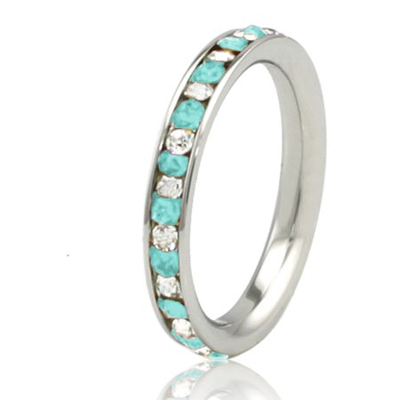Stainless Steel Teal Aquamarine & White Crystal Channel Eternity Stackable Ring