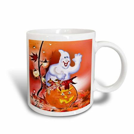 3dRose Halloween Ghost and Pumpkin, Ceramic Mug, 11-ounce