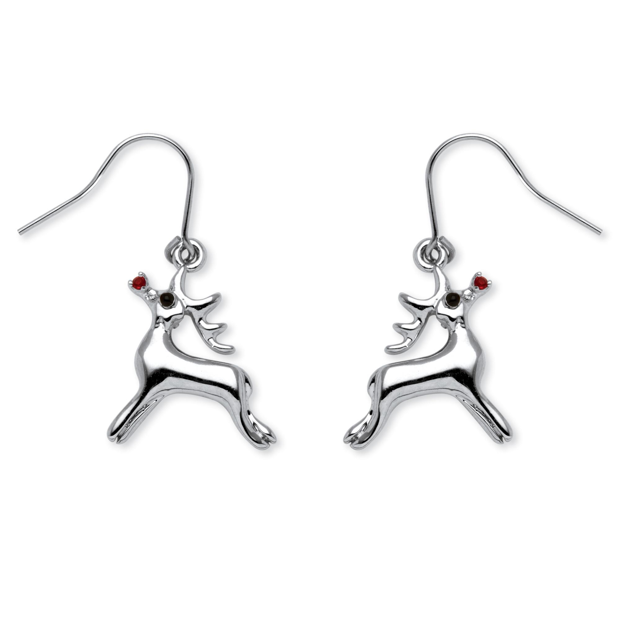 Rudolph Reindeer Red Crystal Drop Earrings in Silvertone