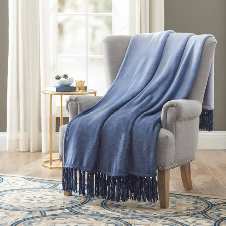 Better Homes and Gardens Velvet Plush Fringe Throw Blanket