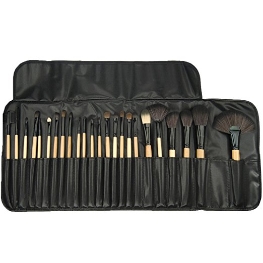 Professional Makeup Brushes, 24 Piece Set, Black, Great for Highlighting & Contouring, Includes Free Case, By Beauty Bon®
