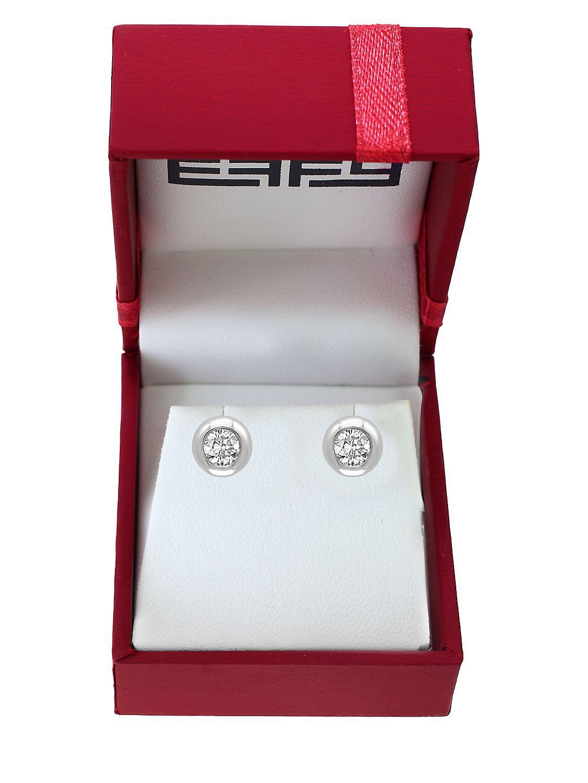 Pavé Classica Diamond and 14K White Gold Bezel Stud Earrings