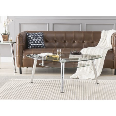 ACME Phlox Coffee Table in Chrome, Chrome and Clear Glass