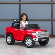 Best Choice Products 12V Kids Battery Powered Remote Control Toyota Tundra  Ride On Truck w/ LED Lights, Music, Storage Compartment - Red