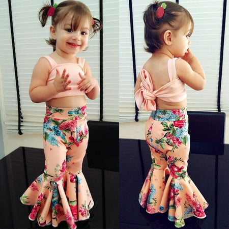 (Kids Baby Girl Floral Bra Crop Tops Bell-bottoms Pants Outfit Clothes Summer)