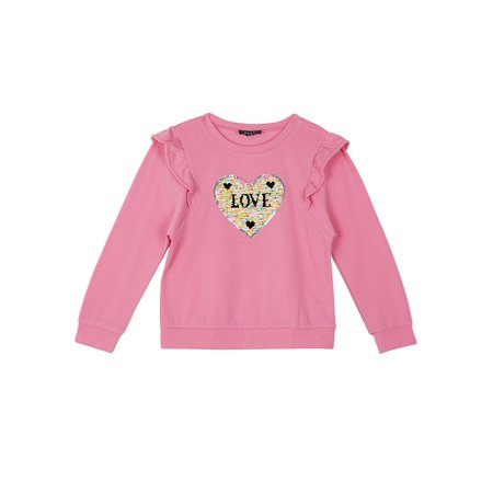 - Reversible Flip Sequin Heart Ruffled Sweatshirt (Big Girls)