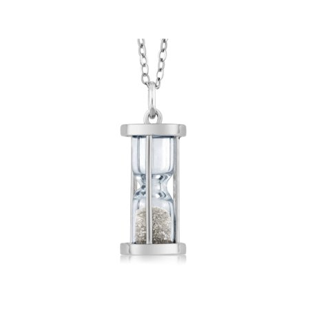 Cuff White Pendant - Gem Stone King Sterling Silver Hourglass Pendant with 0.50 Ct Diamond Dust & 18