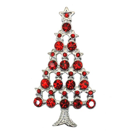 Gorgeous Crystal Christmas Tree Pins Brooch - Red ()