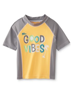 Toddler Boys Orange/Gray Good Vibes Tropical Rash Guard Swim Shirt