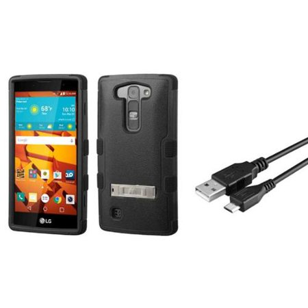 Insten Hard Dual Layer Hybrid Stand Case For Lg Magna Volt 2   Black    Micro Usb Data Charge Cable