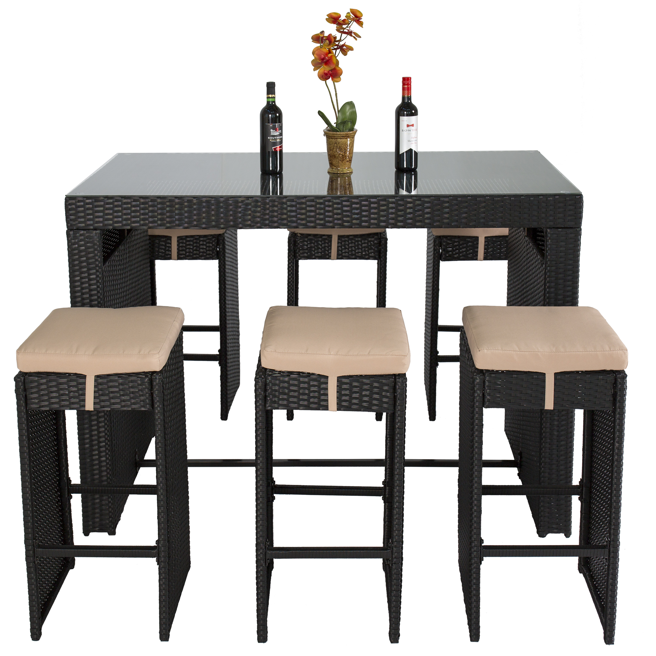 Best Choice Products 7 Piece Outdoor Rattan Wicker Bar Dining Patio  Furniture Set W/ Glass Table Top, 6 Stools   Walmart.com