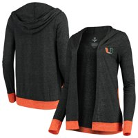 Miami Hurricanes Colosseum Women's Steeplechase Open Hooded Tri-Blend Cardigan - Charcoal