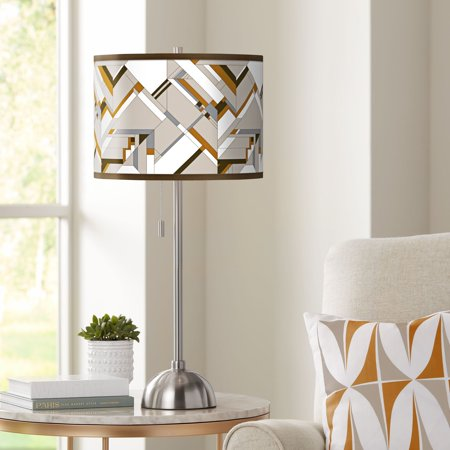 Giclee Glow Craftsman Mosaic Giclee Brushed Nickel Table Lamp