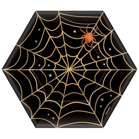 Festive Halloween Dinner Ideas (7 Inch Spider Web Hexagon Shaped Halloween Festive Party Paper)