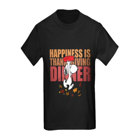 CafePress - Peanuts Happiness Thanksgiving D - Kids Dark T-Shirt (Peanuts Thanksgiving Special)