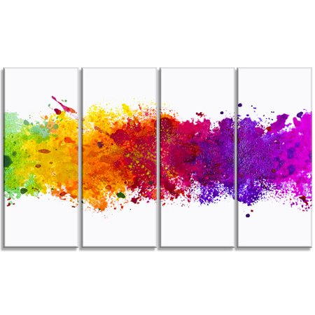 Design Art Artistic Splash Abstract 4 Piece Graphic Art on Wrapped Canvas Set