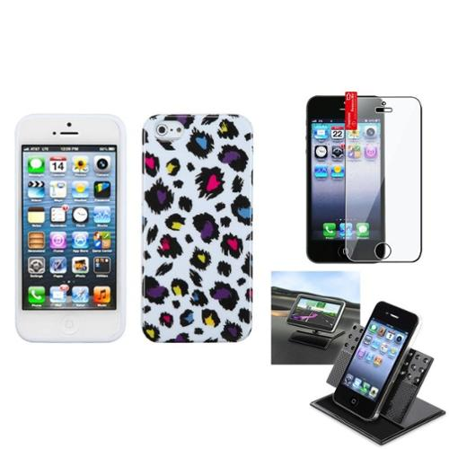 Insten Film+Holder+Jagged Colorful Leopard Candy Case Cover For APPLE iPhone 5 5S