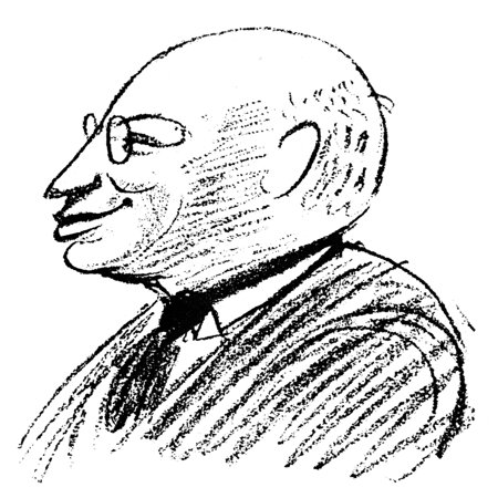 Congress Congress Semi Flush - Sandor Ferenczi N(1873-1933) Hungarian Psychoanalyst Caricature By Robert Bereny Drawn At The Eighth International Psychoanaltic Congress At Salzburg Austria April 1924 Rolled Canvas Art -  (24 x 36)