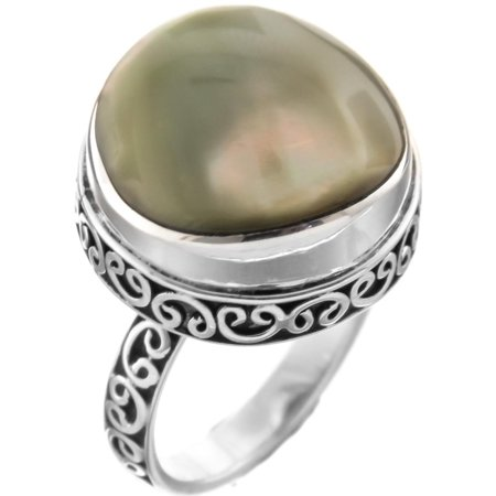 Olive Green Iridescent Round Shell 925 Sterling Silver Ring