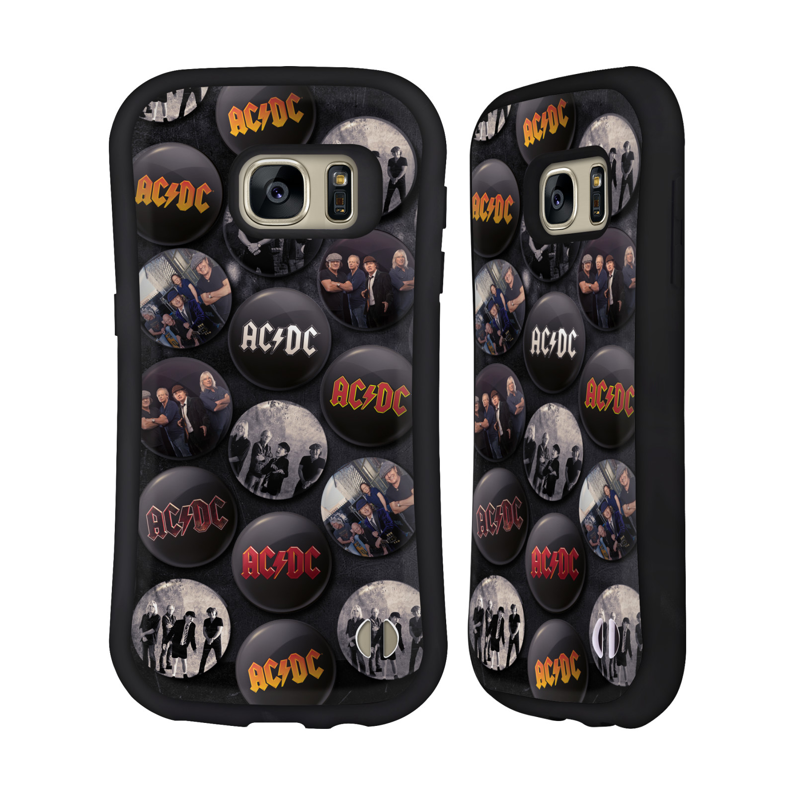 OFFICIAL AC/DC ACDC BUTTON PINS HYBRID CASE FOR SAMSUNG PHONES