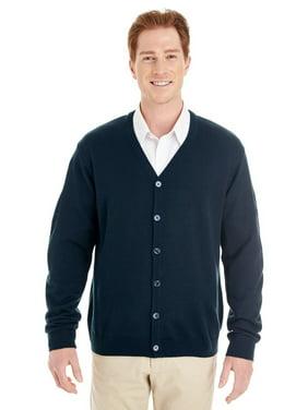 Branded Harriton Mens Pilbloc V-Neck Button Cardigan Sweater - DARK NAVY - M (Instant Saving 5% & more on min 2)