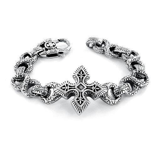 West Coast Jewelry Cast Engraved Figure 8 Links Large Celtic Cross Bracelet