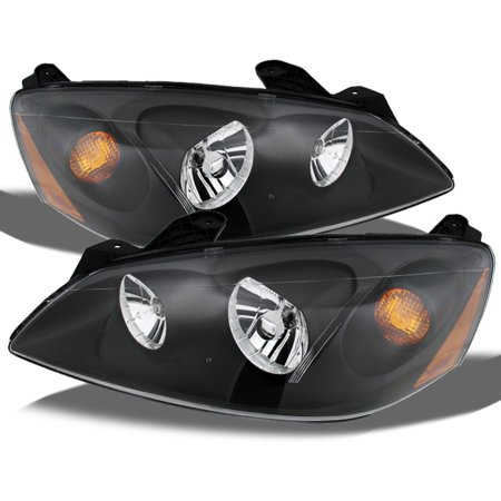 Fits 05-10 Pontiac G6 Black Bezel Headlights Headlamps Left+RIght 2005-2010